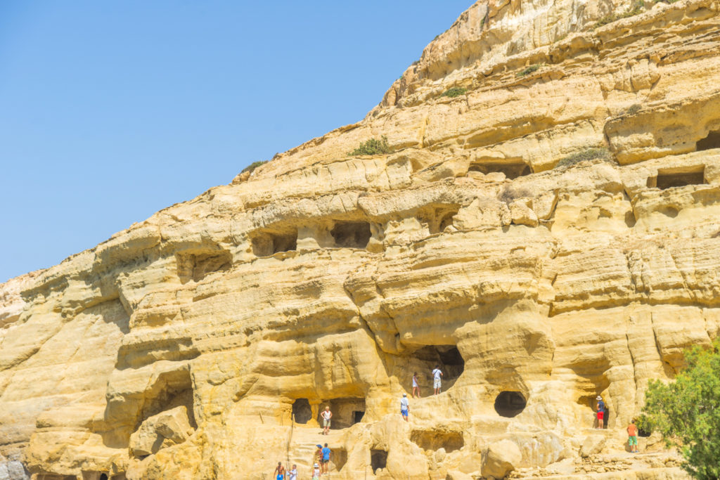 Matala beach, Crete. The artificial caves in the cliff of the Ma