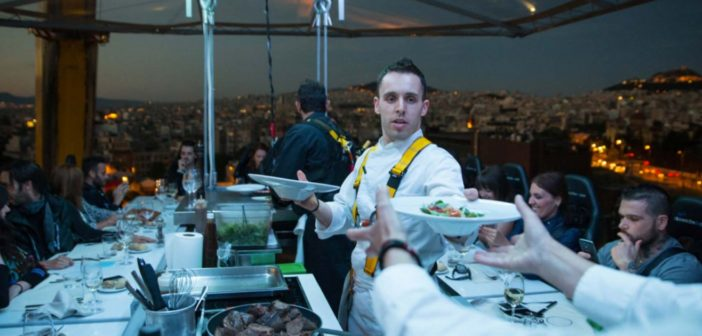 dinner in the sky, athen, griechenland