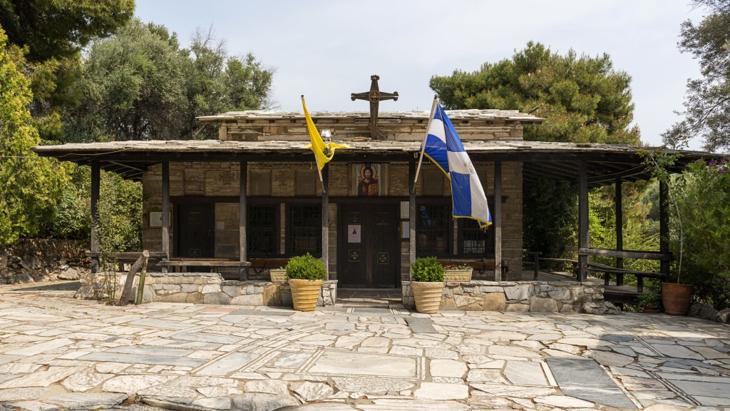 Bildunterschrift: Die Kirche von Aghios Dimitrios Loumbardiaris in der Nähe der Akropolis von Athen.